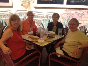 l. to r. - Earlene Fowler, Judy Starbuck, Yours Truly, Carolyn Hart