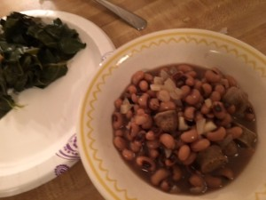Hoppin' john with sausage and a side of greens